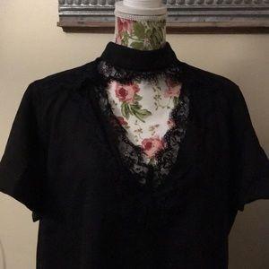 SHEIN Tops - Black lace plus size choker blouse